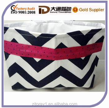 Navy Blue Chevron Shopping Bag Cotton Car Trash Bag