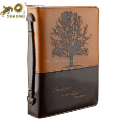 Leather Two-tone Bible Cover Floral Embossed Bible / Book Cover