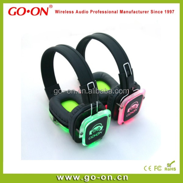 Very HOT selling wireless silent disco headphones for party use with fantastic LED light