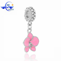 New Products Silver Pink Orchid Pendant Slider Loose Kundan Bead Landing Charms Wholesale Jewelry fit European Charm Bracelet
