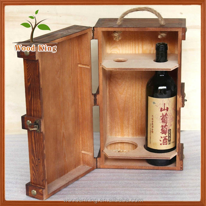 Hottest Products 2017 Custom Logo Restoring Ancient Ways Wooden Red Wine Box Custom Printed Boxes