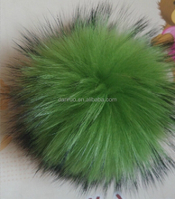 Genuine color fluffy rabbit/rex rabbit/fox/raccoon/mink fur pom poms for sale for