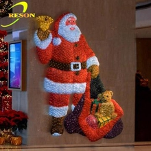 3D Christmas light up acrylic Santa Clause, Led lighted indoor Santa decoration