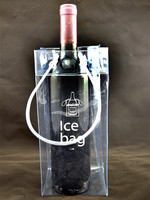 Clear eco-friendly PVC material ice wine bottle bag Recyclable plastic cool portable bag
