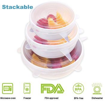 Food Grade 6 Pack of Various Size Food Saver Silicone Stretch Lids Strorage Cover for Bowl
