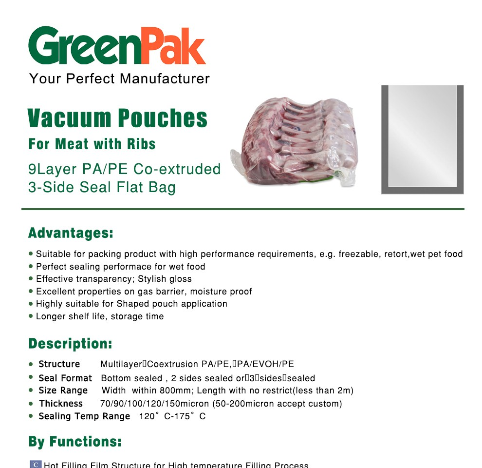 vacuum pouch for meat with bones PA/PE Co-exyruded film
