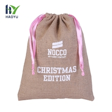 Promotional Custom Small Popular Vintage Unique Style Jute Drawstring Bag