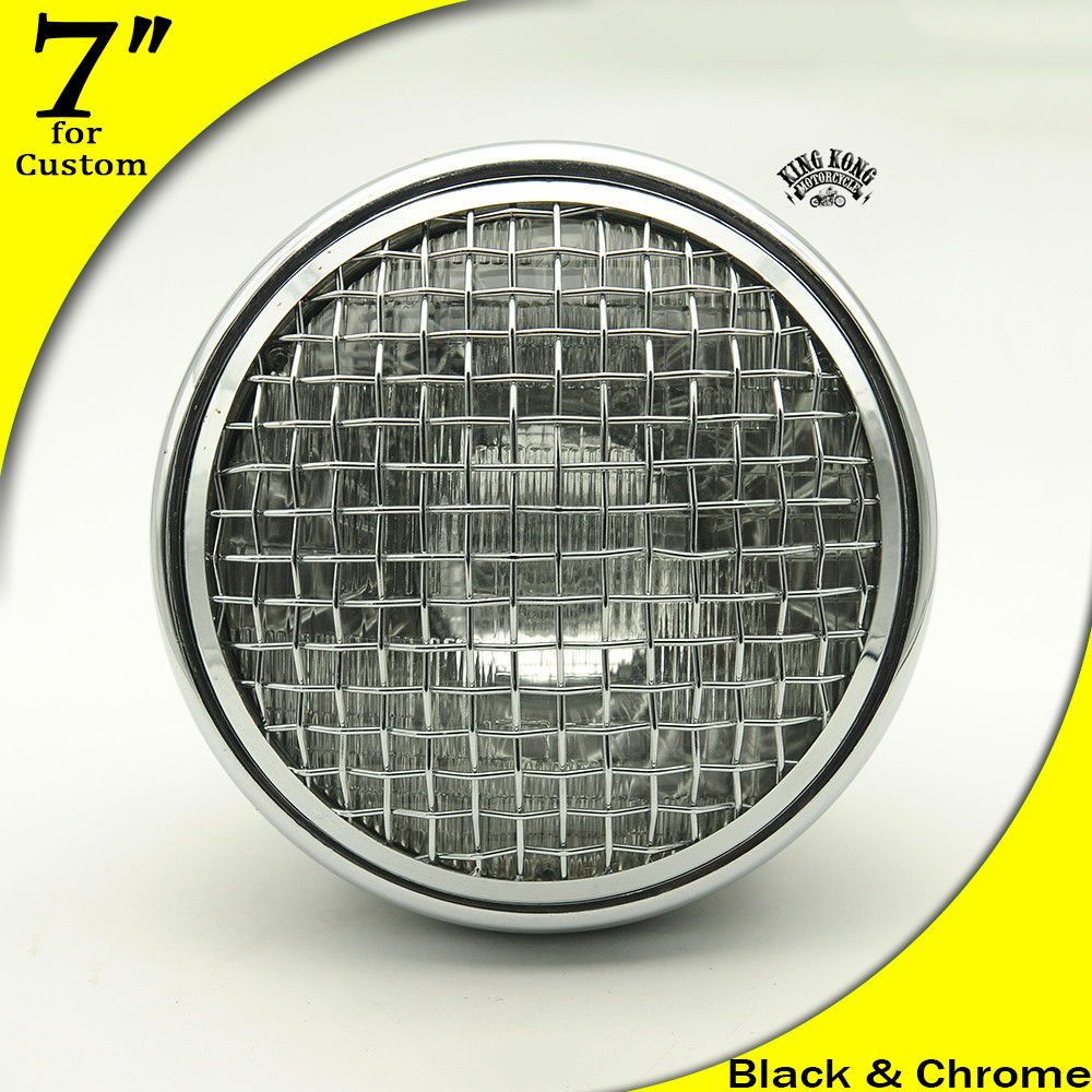 "7"" Mesh Grilles Headlight for Harley SR400 W650 Triumph BMW Retro Motorcycles Vintage headlight"