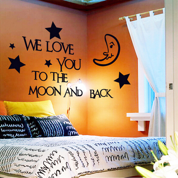 2016 We Love You To The Moon And Back Vinyl Wall Decal Sticker Decor Baby Boy Girl Nursery Bedroom Wholesale