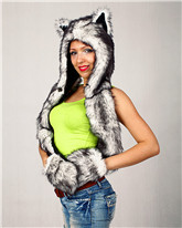 Fashion faux fur animal hooded scarf slouch beanie winter hat