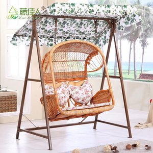 2016 New Outdoor Garden Patio Wicker 2 person plastic rattan hanging swing chair with canopy cushion magazine holders pockets