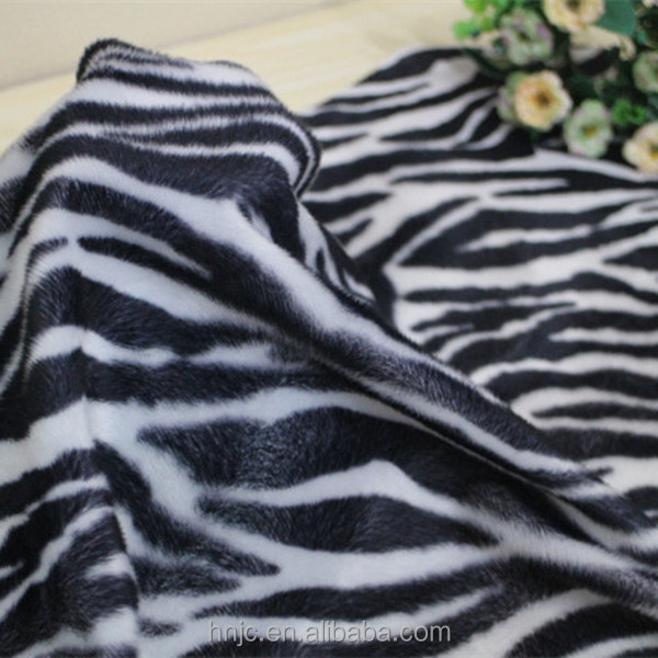 Polyester brushed and printed zebra stripe pattern short plush velboa fabric