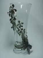 Imbeded Orchid Pewter Glass Jar