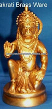 Brass statue of lord hanuman hindu god kneeling abhay mudra brassware item