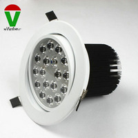White dimmable 18w led downlight 1800lm ac85-265v high quality driver no glare