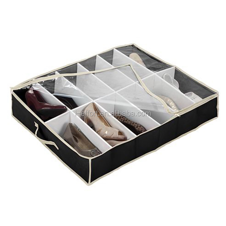 12 dividers drawer underbed folding shoe storage box