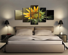 Amazon Hot sale Fine Art for Hotel Deco 5 panel printed canvas art Sun Flower View wall art
