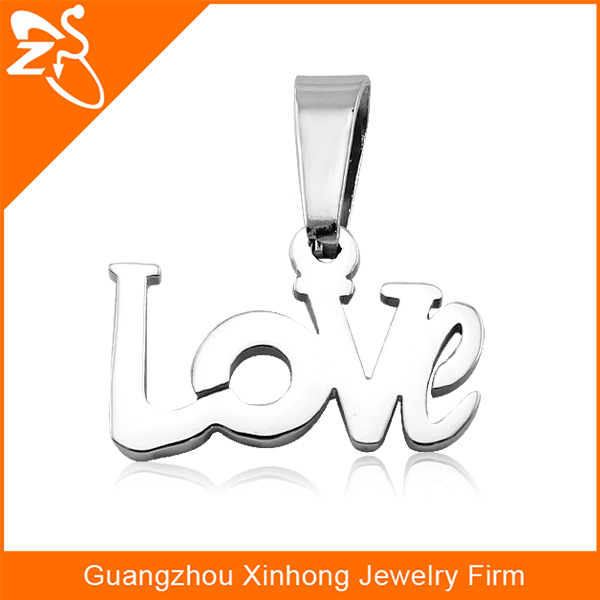 PE01196 Love letter shape fashion stainless steel pendant for couple jewelry