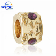 New Fashion Gold Plated Large Hole Beads Purple Stone Charms fits European Charm Leather Bracelet Jewelry