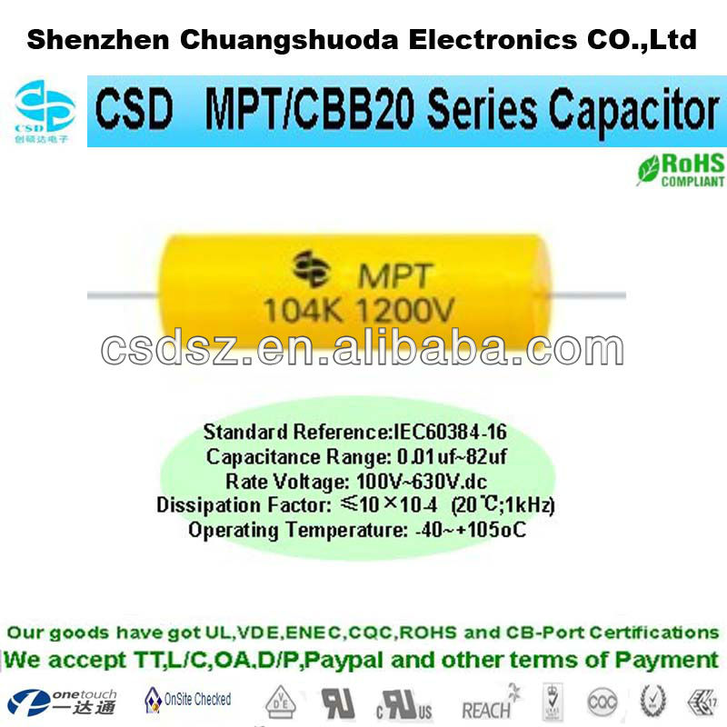 MPT / CBB20 axial type capacitor for dc pulse generator
