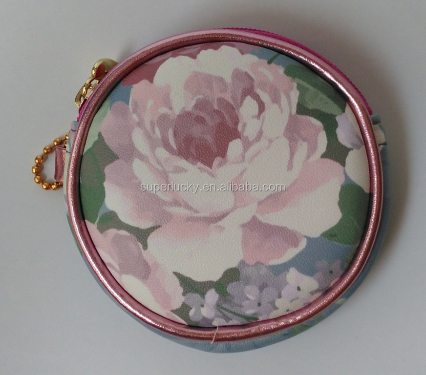 manufacturing mini PU leather bag round coin purse cosmetic bag
