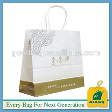 White kraft paper luxury shopping bag with silk screen printing