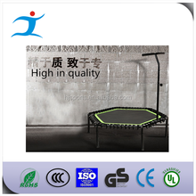 Hexagonal Trampoline with handrail with elastic rope suspension, trampoline with t bar handle