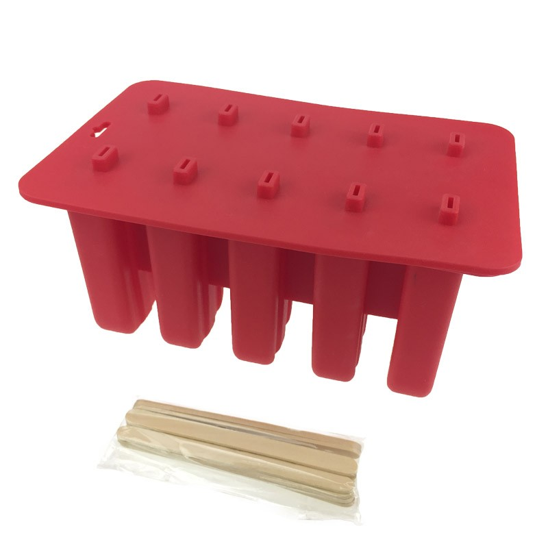 Non-stick 10 Holes Silicone Popsicle Mold, Ice Cream Mold With Wooden Sticks