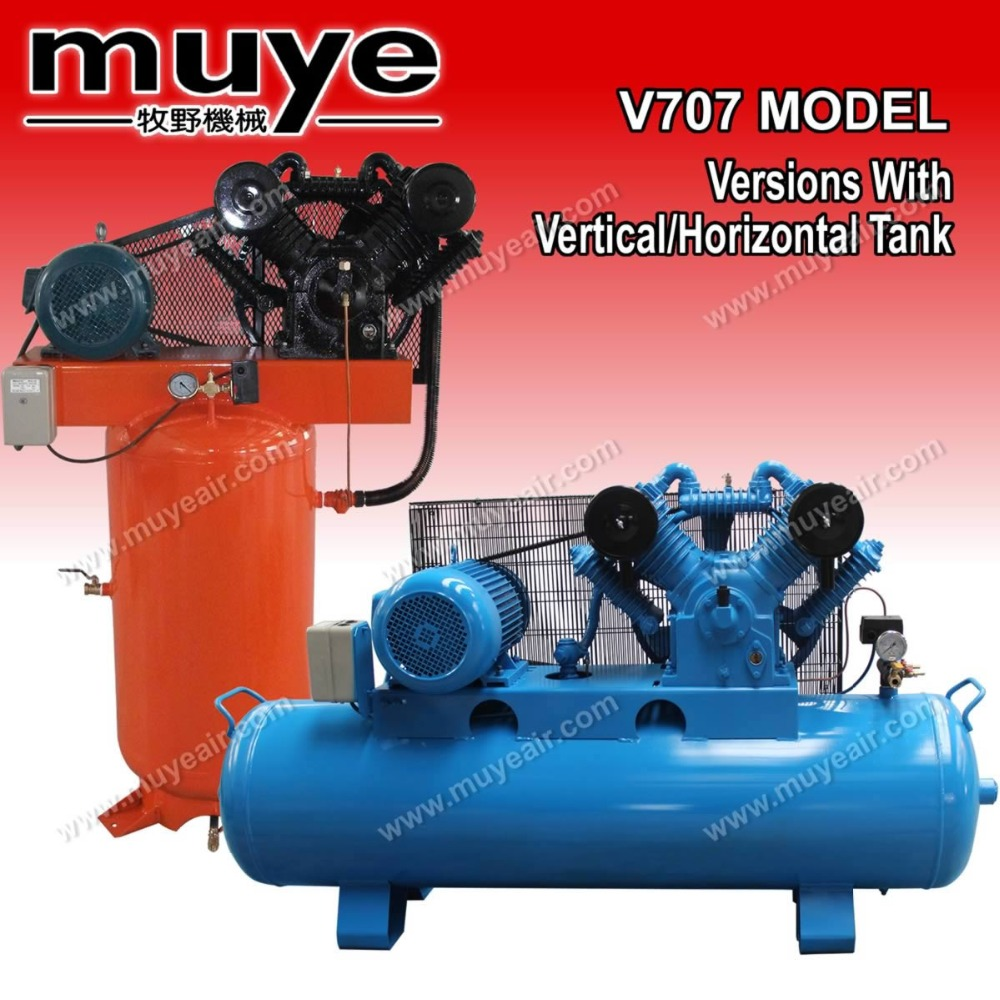 10 hp Versatile explosion proof piston air compressor V-707 with horizontal tank