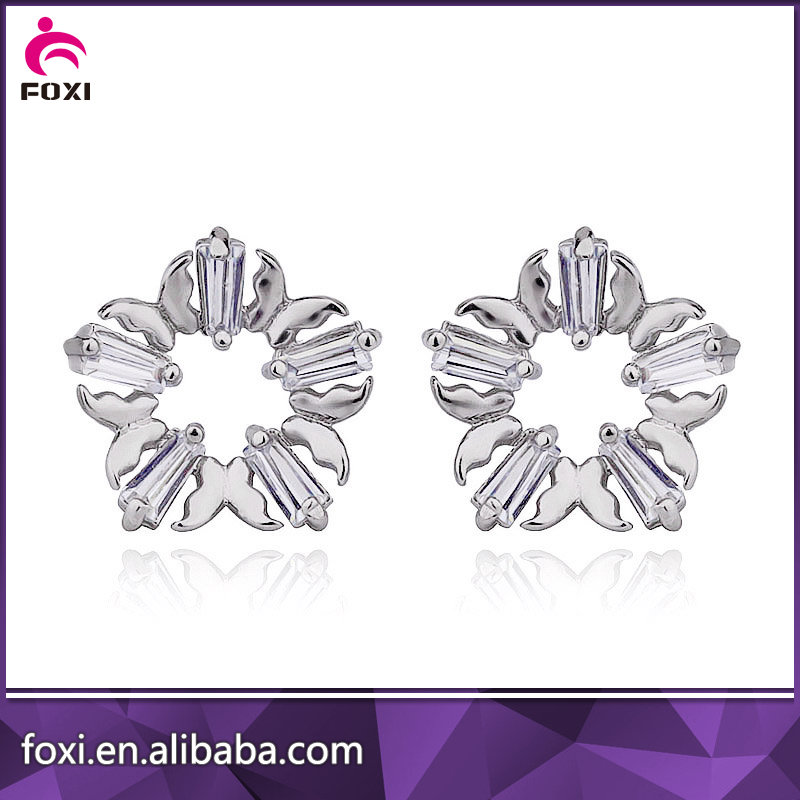 guangxi foxy butterfly shape alloy anti allergy stud earring in silver color