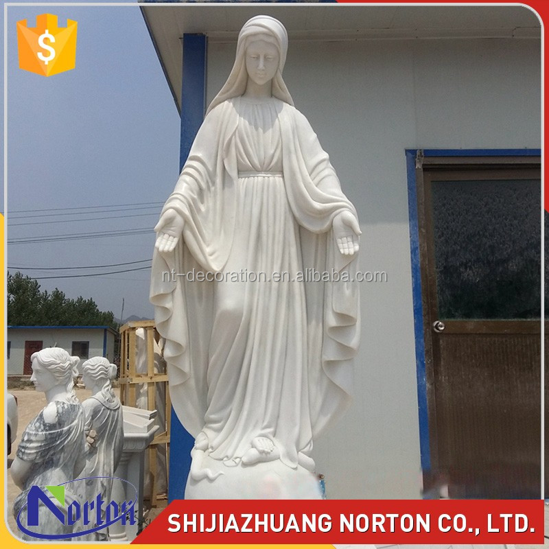Church Used Large Hunan White Marble Virgin Mary Garden Statues  NTMS R509A