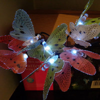China supplier made Led Lights GARDEN BUTTERFLY LIGHTS 10 SOLAR POWERED FIBRE OPTIC FAIRY STRING LIGHTS OUTDOOR