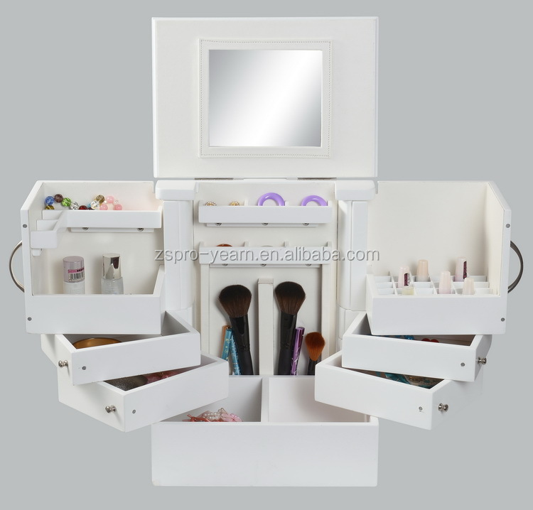 Wooden Cylindric Cosmetic Jewellery Makeup Box with Mirror and Flannelette in 3 Sections and Turn Plate and Shelf Rack and Hooks