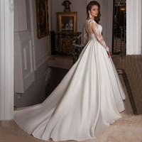 ON469 Modest Elegant Appliques Lace Wedding Dresses 2016 With Crystal O Neck Satin A Line Long Bridal Gowns