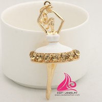 Fashion Enamel Grace White Skirt Dancing Girl Alloy Keychain