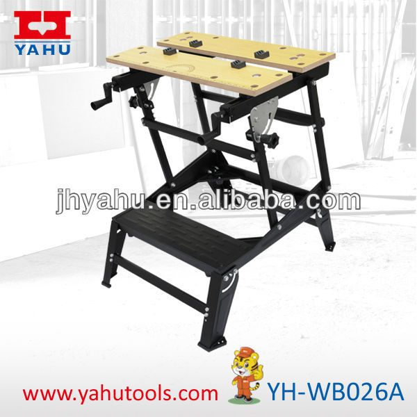6 Position height adjustable workbench wood top for woodworking with bench vise