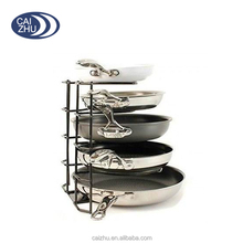Metal Black Steel Wire Pan Pot Holder Organizer Storage Rack