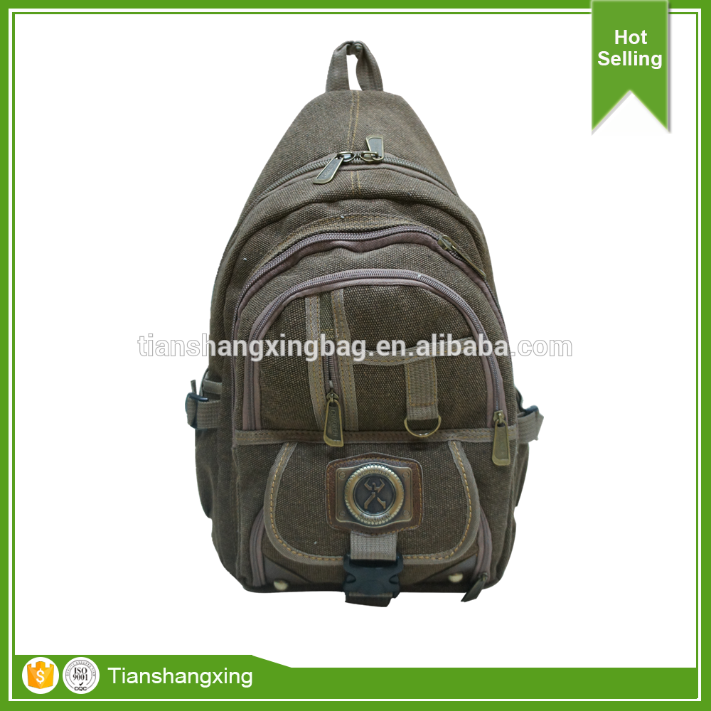 Small Quantity Vintage Army Green Canvas Casual Backpack with