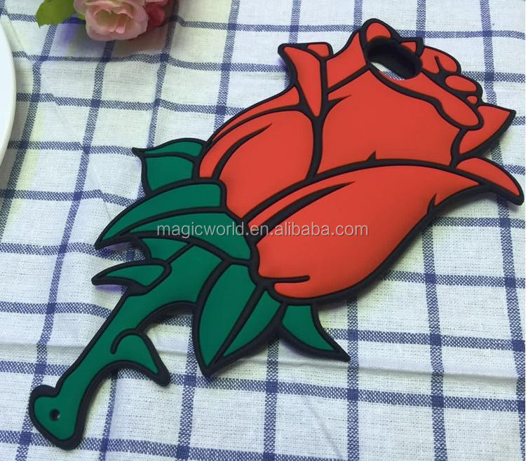 Newest Product Lovely Cute 3D Rose Silicone Cell Phone Case For iPhone 7 7Plus