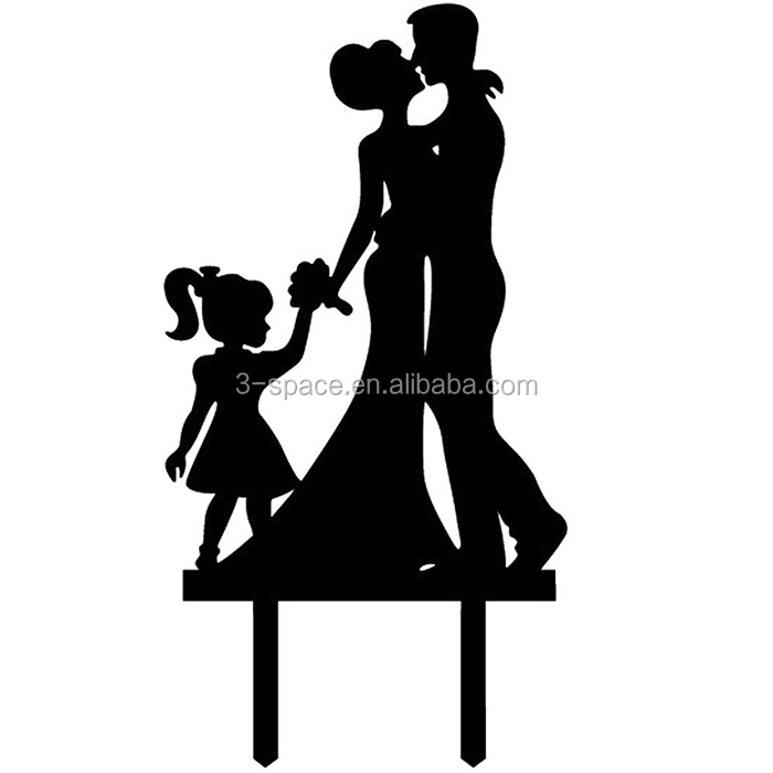 custom Acrylic Family Cake Toppers Wedding Cake decoration Groom Kiss and Hug Bride with Little Girl