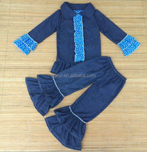 baby product clothing factories in china cowgirl costume denim fabric ruffle raglan shirt wholesale clothing