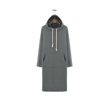 W71163G 2015 new design soft cotton long women wholesale plain custom hoodies dress style with hood