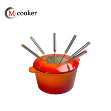 Enamel cast iron fondue set maker mini pot with forks non-stick cookware sets