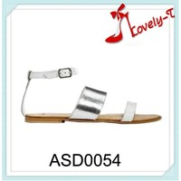 lady summer flat dress shoes silver ankle strap sandals