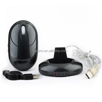 Promotion Products 2.4G Wireless Rechargeable Mouse With 3ports Usb Hub Black