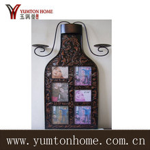 Wine Bottle Metal Wall Photo Frame With Candleholder