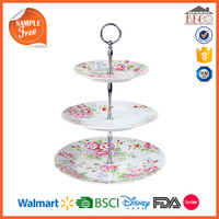 Rose Printed Plastic Melamine 3 Tier Cake Stand With Custom Printed