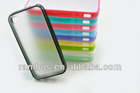 Transparency Soft TPU PC Hard Back Cover Frosted Bumper Case for iPhone 4S 4