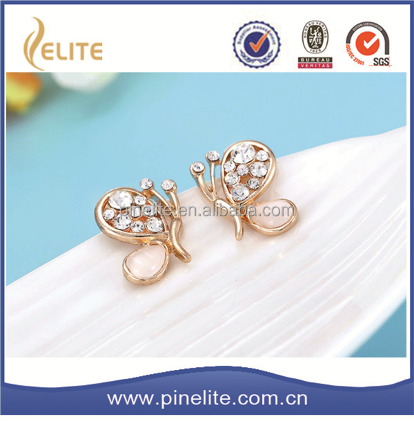 cute new model stud earring,butterfly alloy earring wholesale as gifts