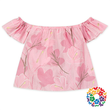 Pink Flowers Baby Girls Top Design Stylish Strapless Cotton Ruffle Tops For Kids